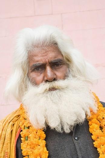 Portrait of a sadhu, Varanasi, Uttar Pradesh, India : Stock Photo