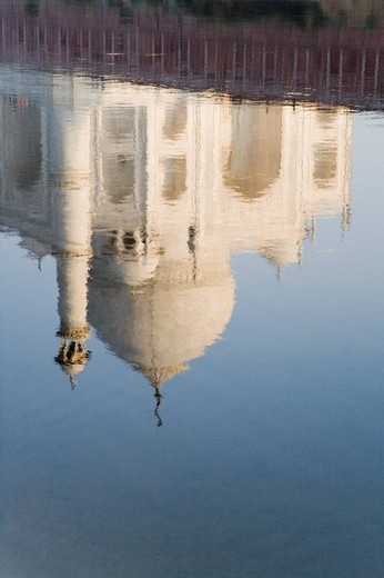 Reflection of a mausoleum in a river, Taj Mahal, Yamuna River, Agra, Uttar Pradesh, India : Stock Photo