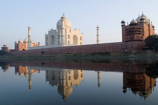 Reflection of a mausoleum in water, Taj Mahal, Agra, Uttar Pradesh, India : Stock Photo
