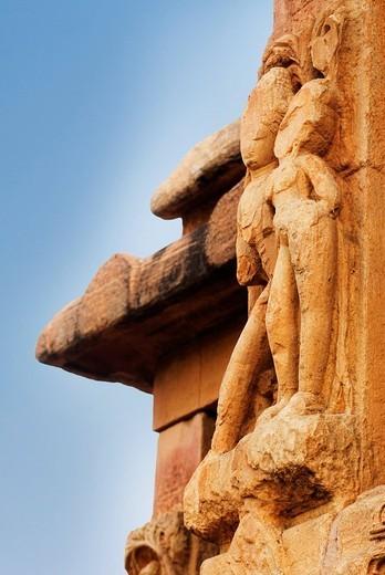 Stock Photo: 1846-5325 Bas relief on a temple, Durga Temple, Aihole, Bagalkot, Karnataka, India