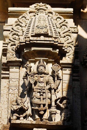Bas relief on a temple, Halebidu, Hassan District, Karnataka, India : Stock Photo