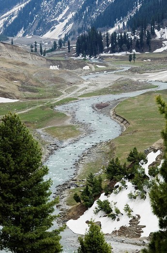 High angle view of a stream near a glacier, Thajiwas Glacier, Sonmarg, Jammu And Kashmir, India : Stock Photo