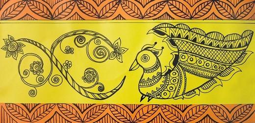 Close_up of a madhubani painting : Stock Photo