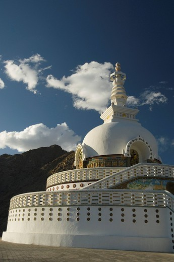 Architectural details of a stupa, Shanti Stupa, Leh, Ladakh, Jammu and Kashmir, India : Stock Photo