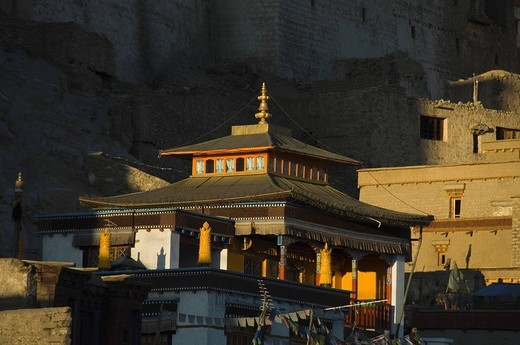 Buddhist temple in a town, Leh, Ladakh, Jammu and Kashmir, India : Stock Photo