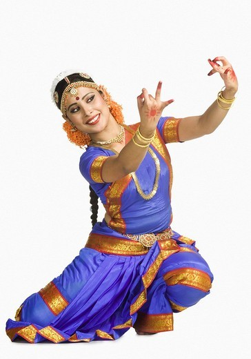 Stock Photo: 1846-7279 Woman performing Bharatnatyam the classical dance of India