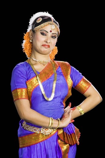 Stock Photo: 1846-7393 Woman performing Bharatnatyam the classical dance of India