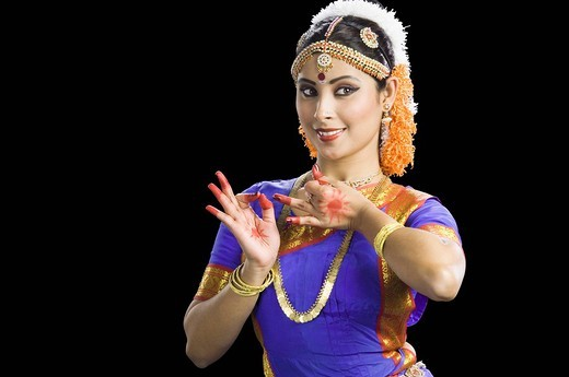 Stock Photo: 1846-7400 Woman performing Bharatnatyam the classical dance of India