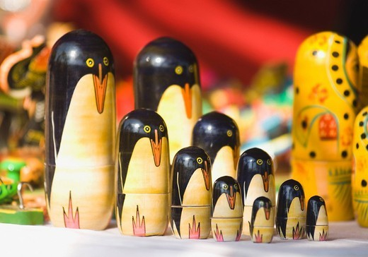 Russian Nesting dolls at a market stall, New Delhi, India : Stock Photo