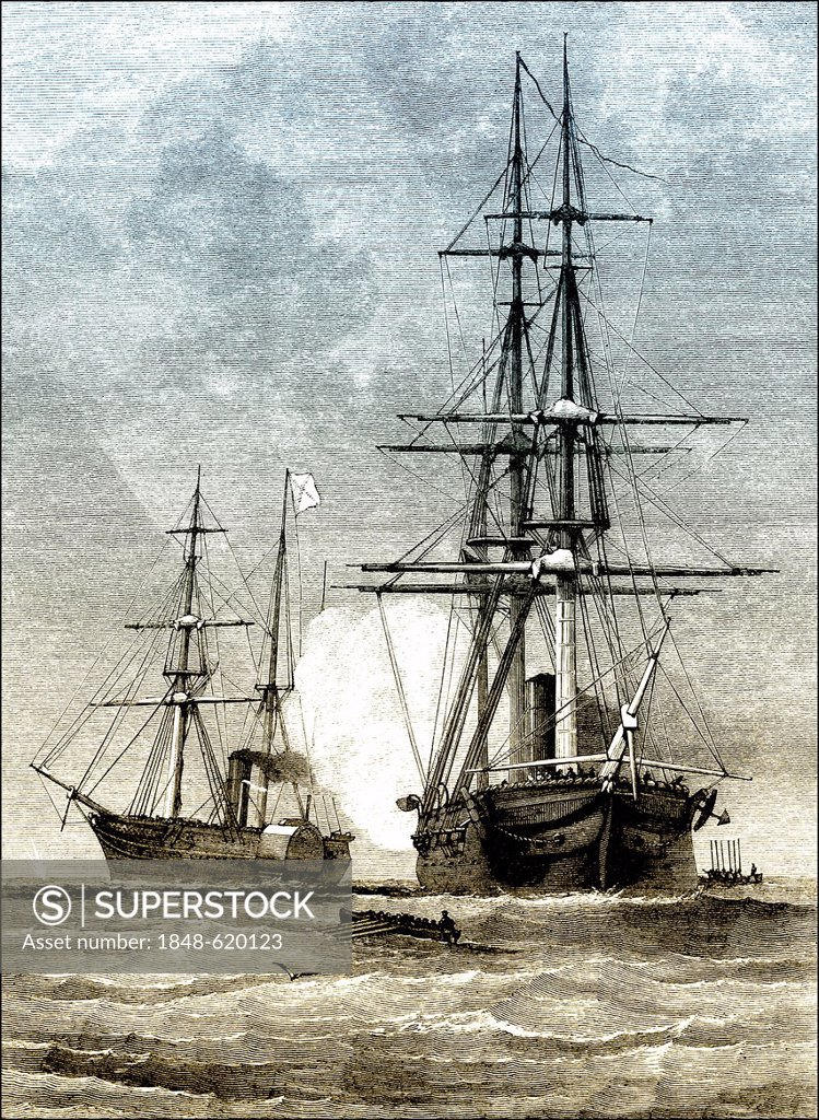Stock Photo: 1848-620123 Historical scene, US-American history, 19th century, Trent Affair or Mason and Slidell Affair in 1861, the ship USS San Jacinto stopping the British m...