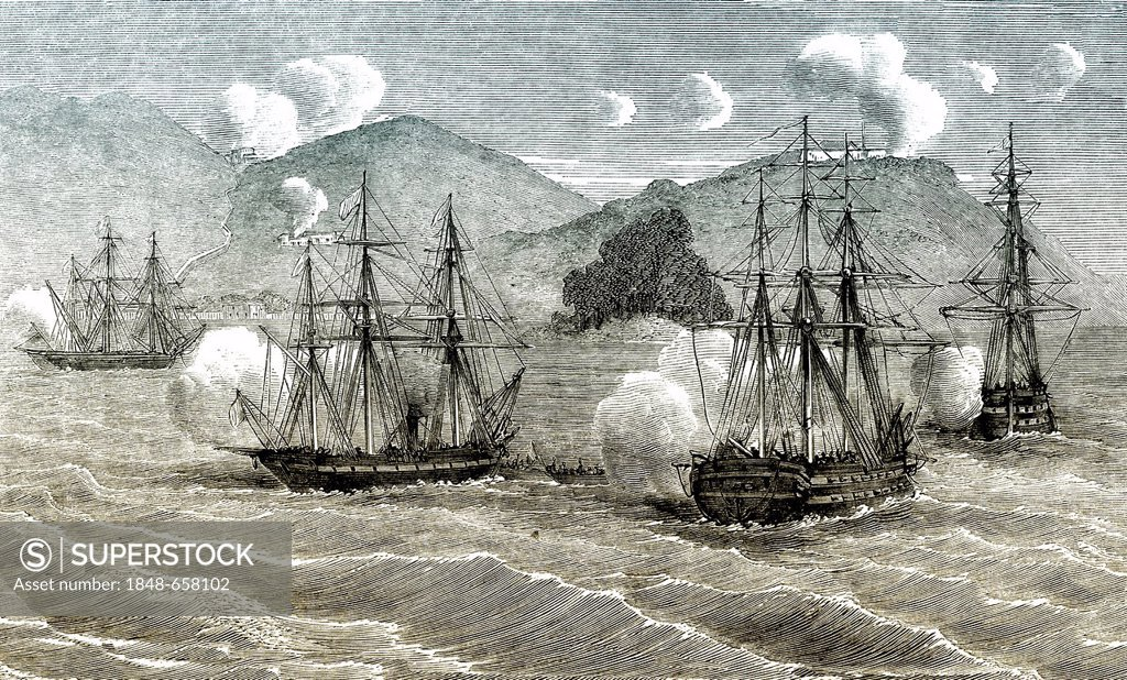 Stock Photo: 1848-658102 Historic drawing, 19th century, scene from the history of France, the French fleet off the coast of Cochinchina, Vietnam and Cambodia, former French colonies, during the invasion in 1861