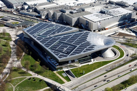 Stock Photo: 1848-100110 BMW World from Olympia TV tower, solar power system, Munich, Bavaria, Germany, Europe