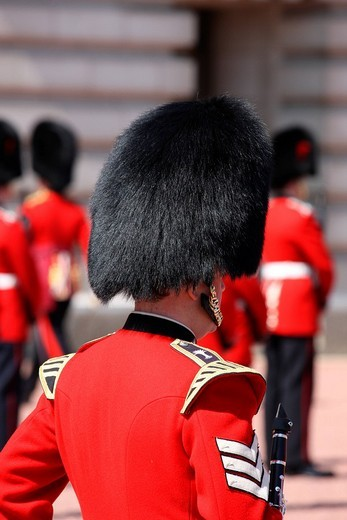 Stock Photo: 1848-100152 Royal Guard in front of Buckingham Palace, London, England, Great Britain, Europe
