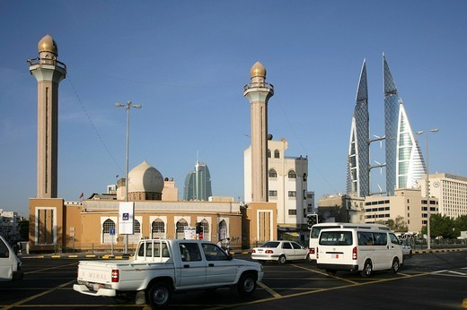 Stock Photo: 1848-100692 World Trade Center buildings, mosque, capital city, Manama, Kingdom of Bahrain, Persian Gulf