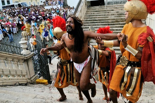 Suffering Jesus Christ on the Way of the Cross, open_air performance on Good Friday, Salvador, Bahia, Brazil, South America : Stock Photo