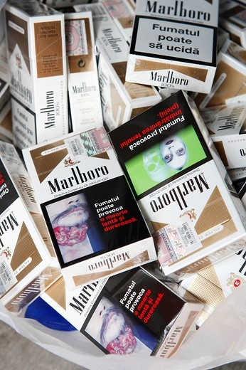 Romanian cigarettes with shocking pictures : Stock Photo