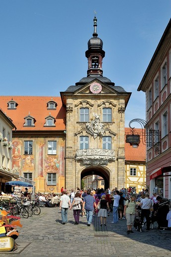 Old town hall standing on piles in the middle of the Regnitz river below, Bamberg, Franconia, Bavaria, Germany, Europe : Stock Photo