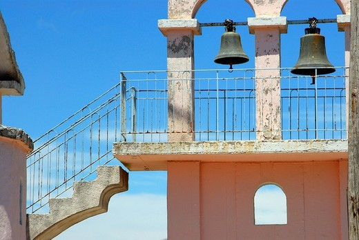 Belfry with stairs, Kefalonia, Ionian Islands, Greece : Stock Photo