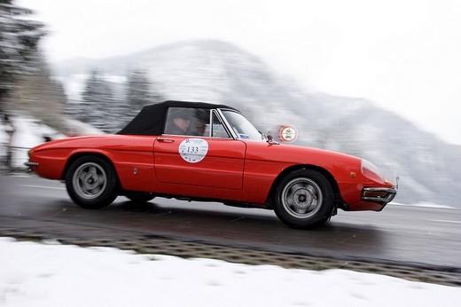 Stock Photo: 1848-101637 Alfa Romeo Spider Duetto, built 1969, Jochpass Memorial 2007, Bad Hindelang, Bavaria, Germany