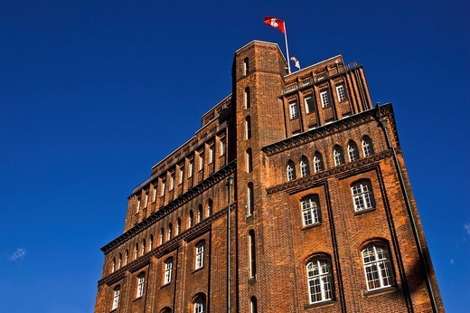 Historic Patriotic Society brick building, Trostbruecke Bridge, Hamburg, Germany, Europe : Stock Photo