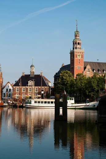 Stock Photo: 1848-102657 Historic town centre with Town Hall, weighing house and ship, Leer, East Frisia, Lower Saxony, Germany, Europe