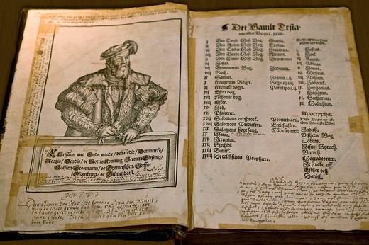 Old bible from 1548 : Stock Photo