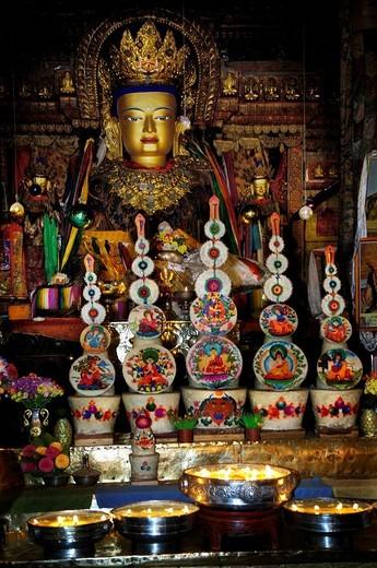 Stock Photo: 1848-10281 Buddha statue, Palcho Monastery or Pelkor Chode Monastery or Shekar Gyantse, Gyantse, Tibet