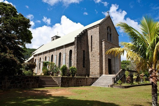 The church of Sainte Marie Madeleine near the town of Quarte Bones, Mahe Island, Seychelles, Indian Ocean, Africa : Stock Photo