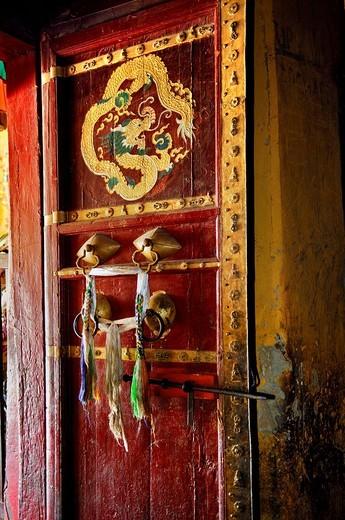 Painted door, Palcho Monastery or Pelkor Chode Monastery or Shekar Gyantse, Gyantse, Tibet : Stock Photo