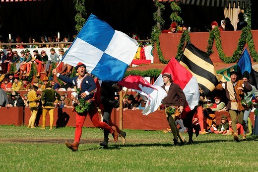 Medieval games during the Landshut Wedding historical pageant, Landshut, Lower Bavaria, Bavaria, Germany, Europe : Stock Photo