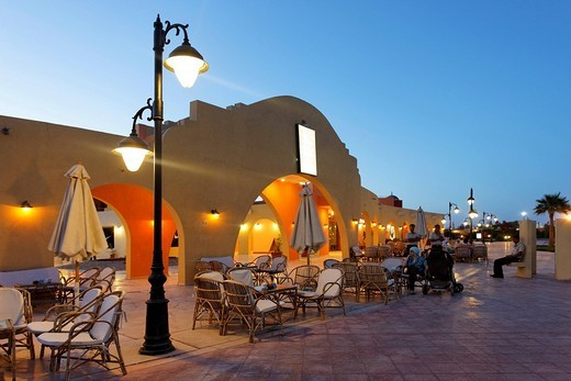 Stock Photo: 1848-102950 Bar with illuminated street lamp, evening, arch, entrance to traditional market, Souk, marina, Hurghada, Egypt, Red Sea, Africa