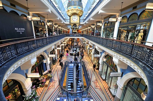 Royal Clock, arcades, boutiques, QVB, Queen Victoria Building, shopping centre, Sydney, New South Wales, Australia : Stock Photo