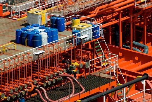 Stock Photo: 1848-103213 Detail of the pipes and tubes of an LNG carrier in the Kiel Canal, Schleswig_Holstein, Germany, Europe