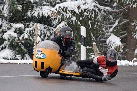 Vintage motorcycle, BMW Kneeler, built 1969, Jochpass Memorial 2007, Bad Hindelang, Bavaria, Germany : Stock Photo