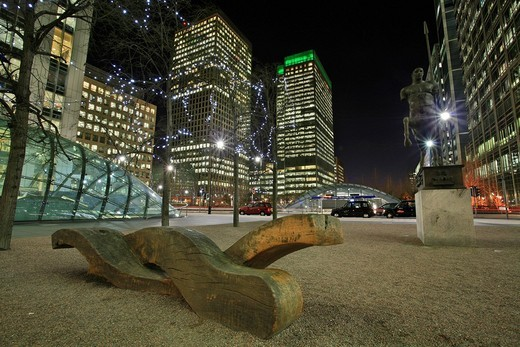 Stock Photo: 1848-103882 Canary Wharf with Canada Square, entrance to underground station and skyscrapers, Docklands, London, England, UK, Europe