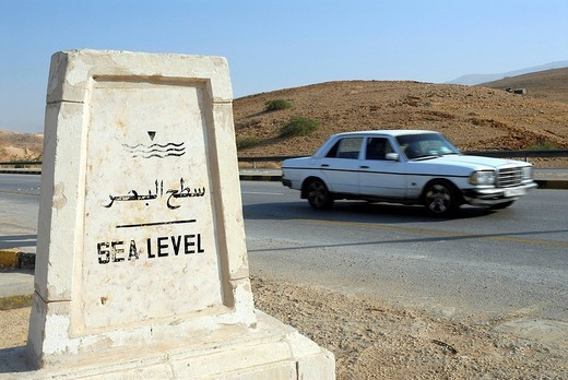 Stock Photo: 1848-103918 Sign at sea level between Amman and the Dead Sea, Jordan