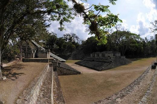Ballgame court, central plaza, Copan, Honduras, Central America : Stock Photo