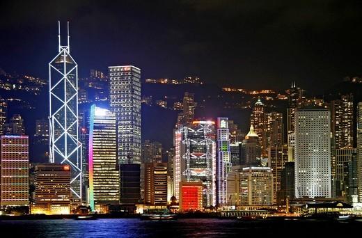 View from Kowloon, Tsim Sha Tsui shore, on the skyline of Hong Kong Iceland, Hong Kong, China : Stock Photo
