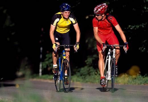 Racing cyclists, Lake Starnberg, Bavaria, Germany : Stock Photo