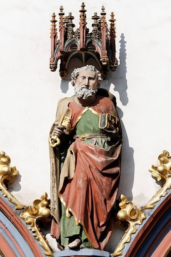 Stone sculpture of St. Peter, medieval town hall, Trier, Rhineland_Palatinate, Germany : Stock Photo