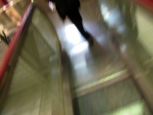 Stock Photo: 1848-105723 DEU Germany, Frankfurt, 2002 pedestrian leave the escalatrot in the Zeilgalerie, movement photo with wiping effect