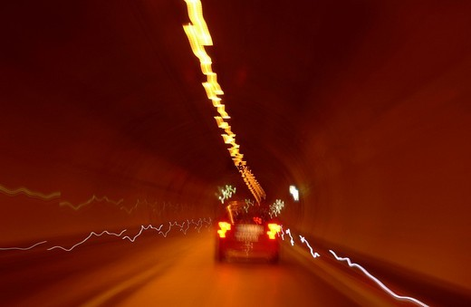 Stock Photo: 1848-105800 Cars in a tunnel, wiper effect, time exposure, Autobahn A71, Bamberg_Schweinfurt, Franconia, Bavaria, Germany, Europe