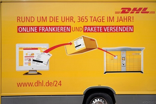 DHL courier van : Stock Photo