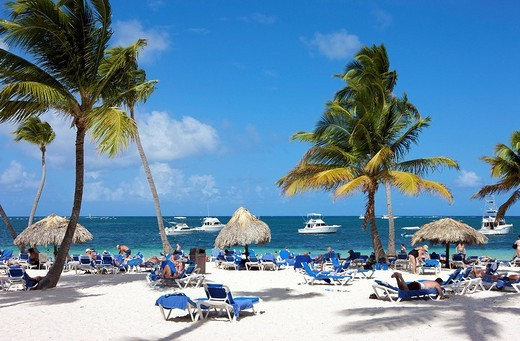 Stock Photo: 1848-105943 Tourists at the beach, Punta Cana, Dominican Republic, Caribbean