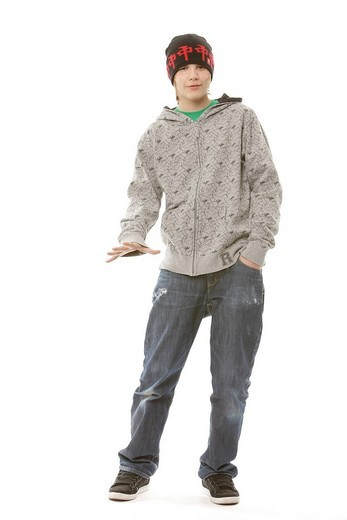 13_year_old boy wearing a cool outfit : Stock Photo