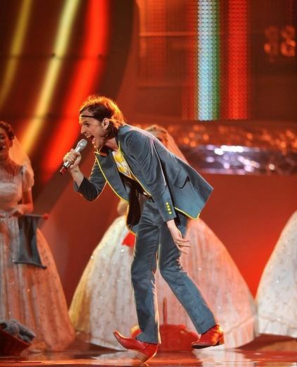 ESC Eurovision Song Contest, first dress rehearsal for the final, Laka fuer Bosnia & Herzegovina, Belgrade, Serbia, Europe : Stock Photo