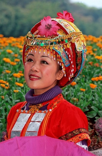 Zhuang Girl, ethnic minority, Guilin, Guangxi, China, Asia : Stock Photo