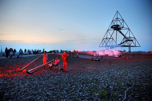 Stock Photo: 1848-106166 Alpenhorn players during the additional shift, long night of industrial culture, volcano expedition theme, on the Tetraeder, waste_dump in Bottrop, North Rhine_Westphalia, Germany, Europe