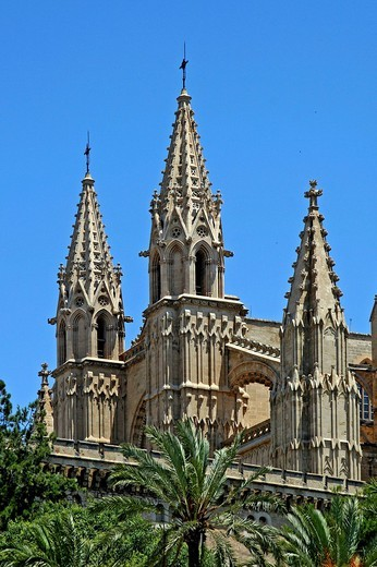 La Seu Cathedral, Palma de Mallorca, landmark, Mallorca, Balearics, Spain, Europe : Stock Photo