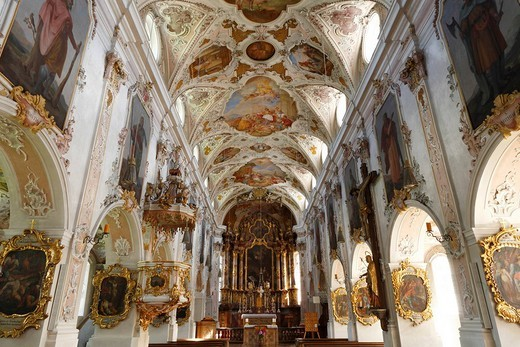 Interior view of St. Martin´s parish church in Fischbachau, Upper Bavaria, Bavaria, Germany, Europe : Stock Photo